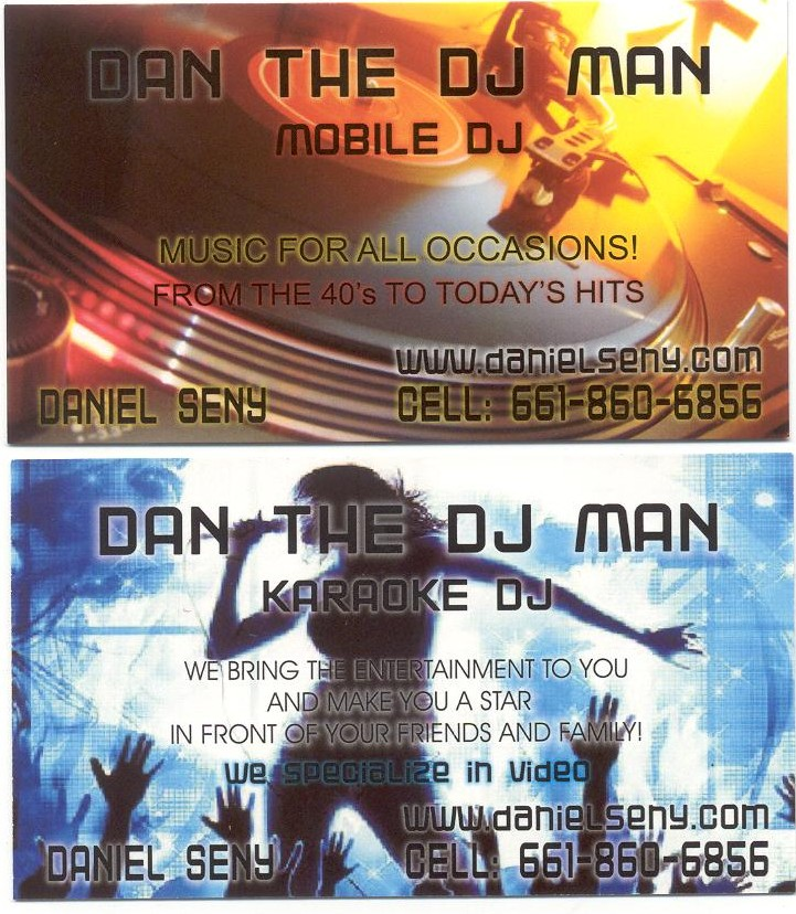 Dan The DJ Man business card